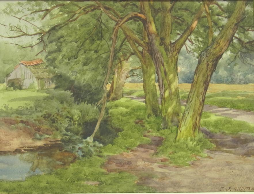 Charles James Adams 01 (A pool beneath the willows with farm buildings beyond)