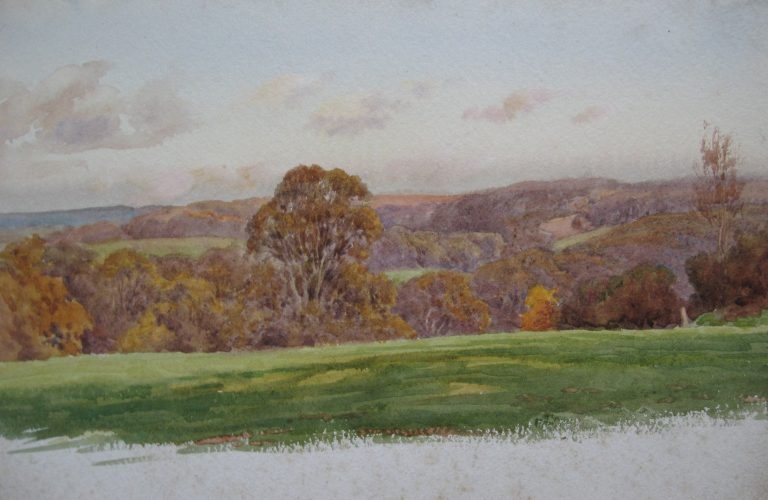 Charles James Adams 03 (Sketch of autumnal trees in a wooded valley)