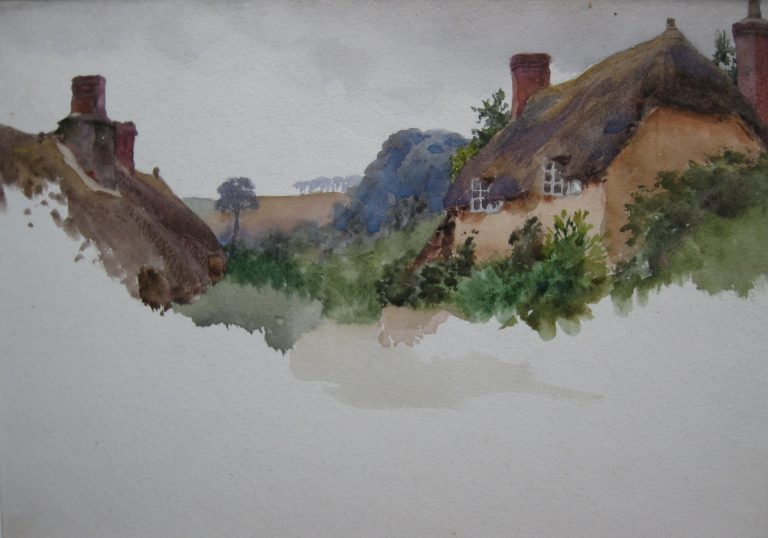 Charles James Adams 07 (Sketch of some thatched cottages in a village, with a hill beyond)