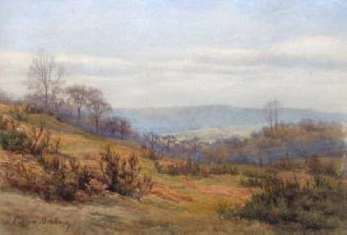 Walter Follen Bishop Wooded Hillside Valley in Winter