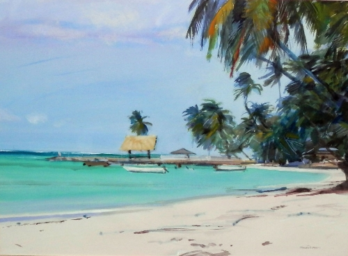 Neil Murrison Tropical beach scene with palm trees.