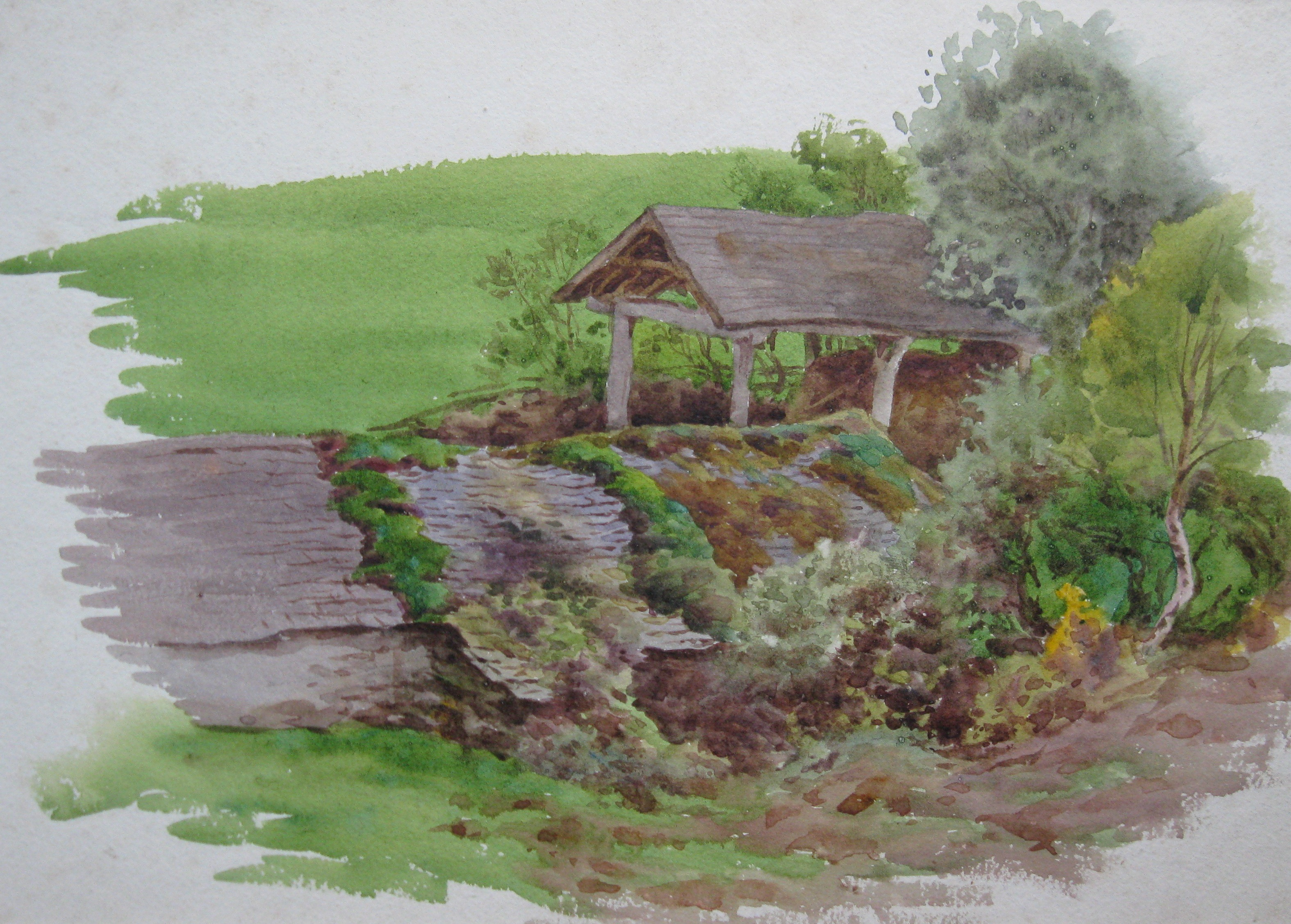 Charles James Adams 10 (Sketch of farm buildings in a rural setting)