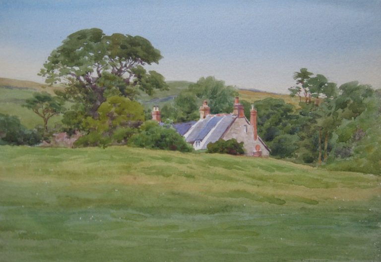 Charles James Adams 13 (Sketch of cottages in a rural dell)
