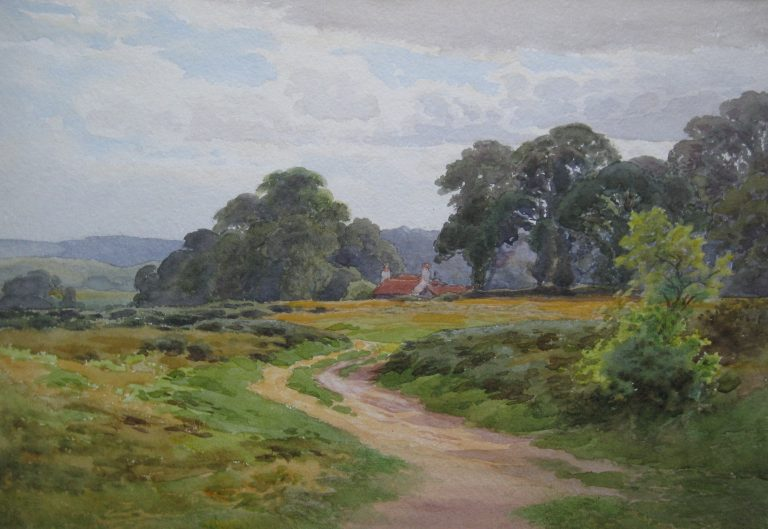Charles James Adams (Sketch of a cottage down a remote rural lane)