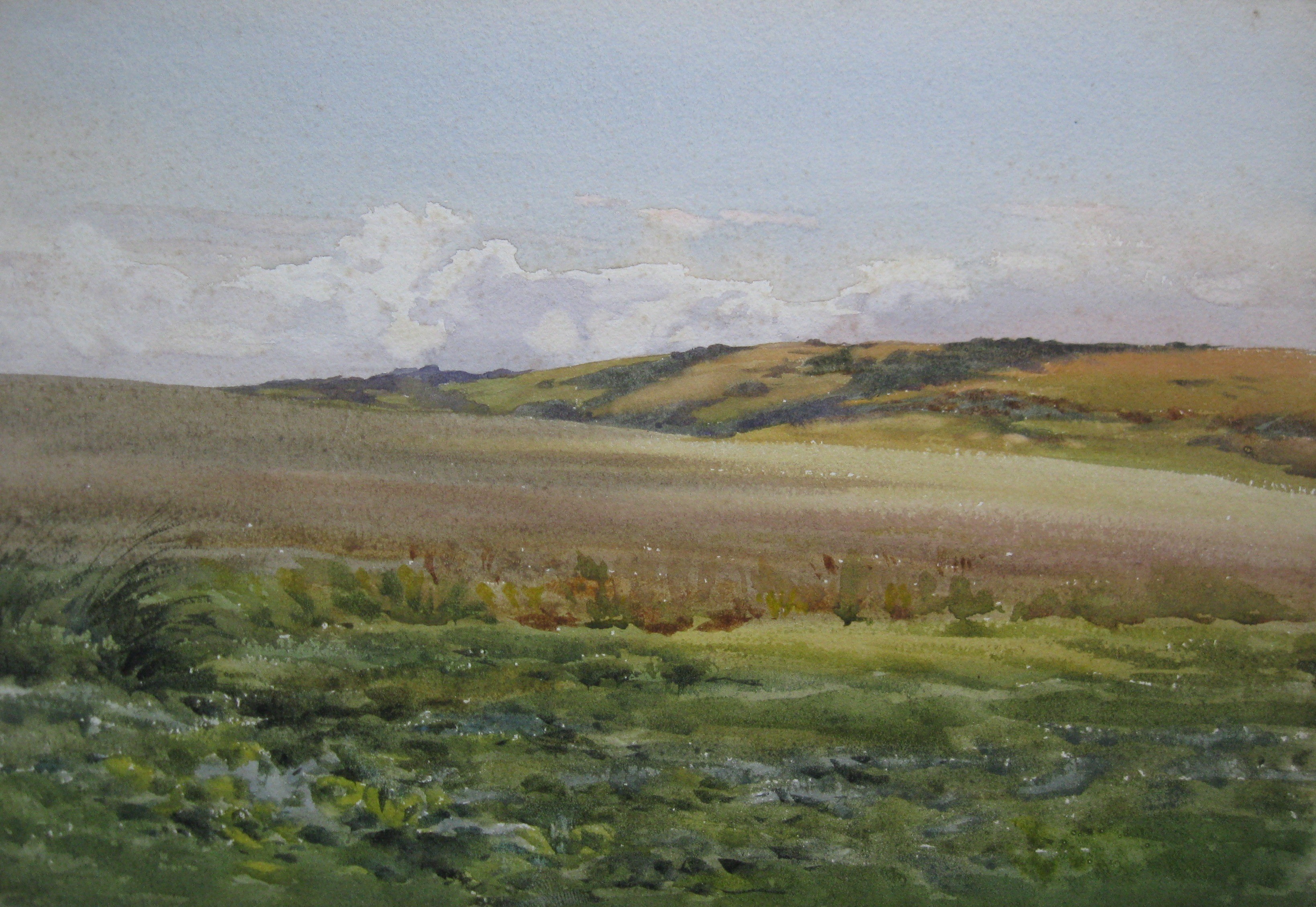 Charles James Adams 16 (Sketch of a far reaching view looking toward a sparsely wooded hillside)
