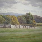 Charles James Adams (sketch of a livestock stockade with woods and hills beyond)