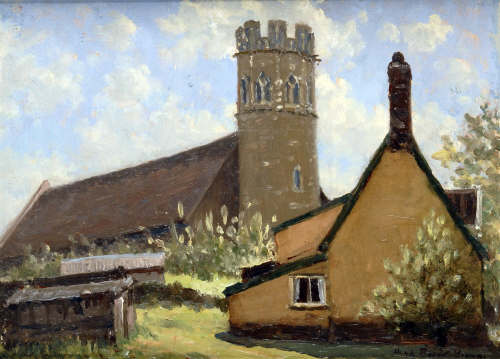 Hugh Boycott Brown view of Suffolk Church and Thatched Cottage