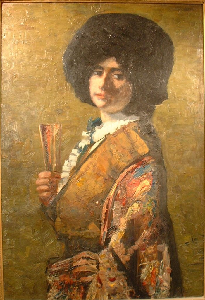 Alfred Aaron Wolmark, Painting of his sister, Sarah standing with a fan in her hand